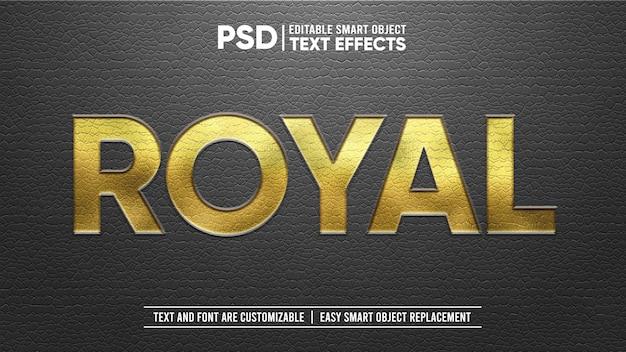 Couro preto real elegante com efeito de texto editável em relevo ouro carimbo Psd Premium