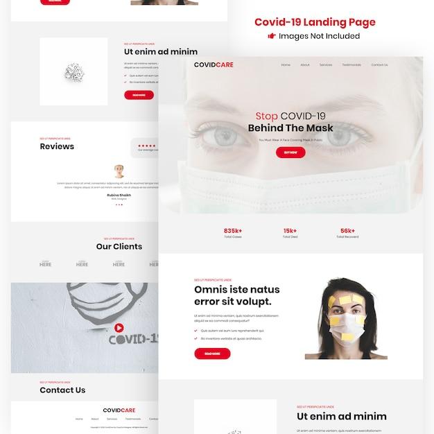 Covid-19, modelo de design de site de vírus corona Psd Premium