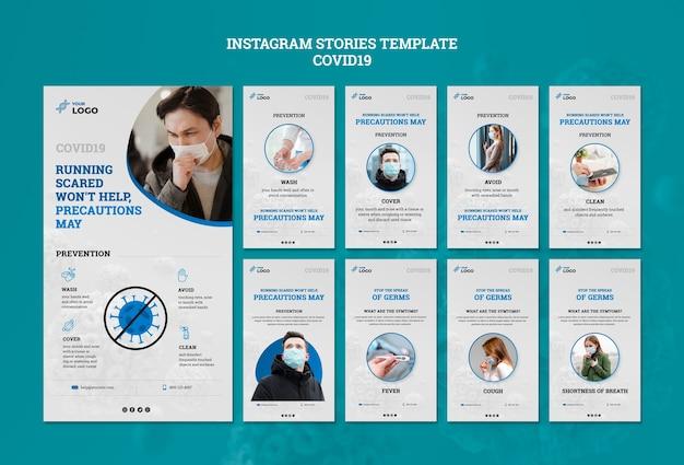 Covid19 instagram stories template Psd grátis