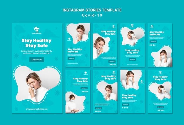 Covid19 instagram stories template Psd Premium