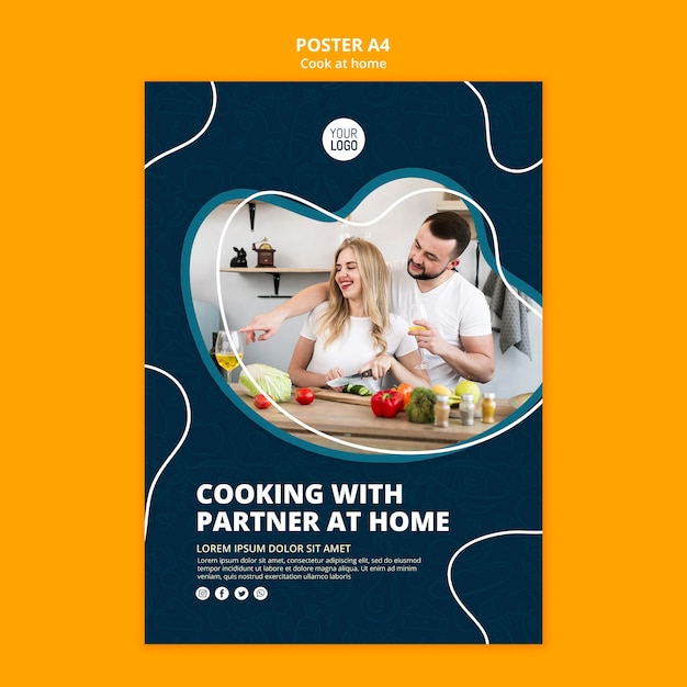 Cozinhando em casa poster Psd grátis