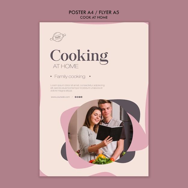 Cozinhar em casa conceito de cartaz Psd grátis