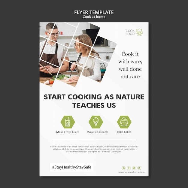 Cozinhar em casa flyer design Psd grátis