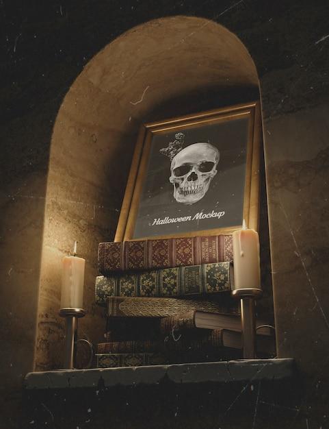 Crânio em um quadro com pilha de livros e velas Psd grátis
