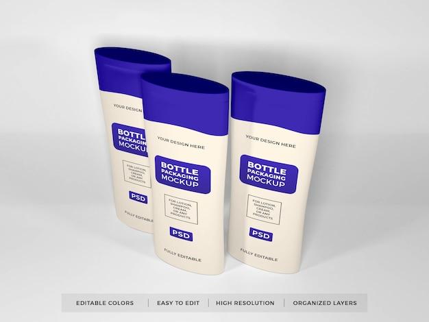 Creme de loção realista e maquete de frasco de shampoo Psd Premium