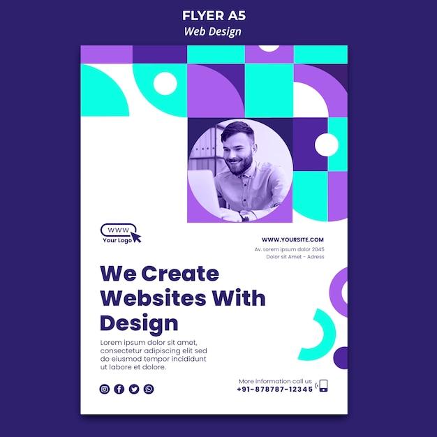 Criamos sites com modelo de folheto de design Psd grátis