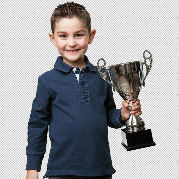 Criança com um troféu Psd Premium