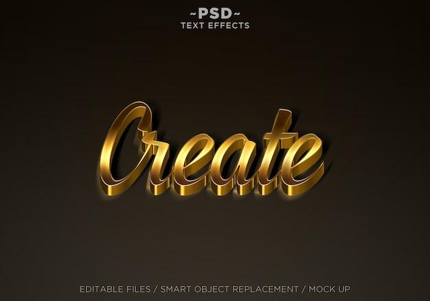 Criar texto editável efeitos dourados Psd Premium