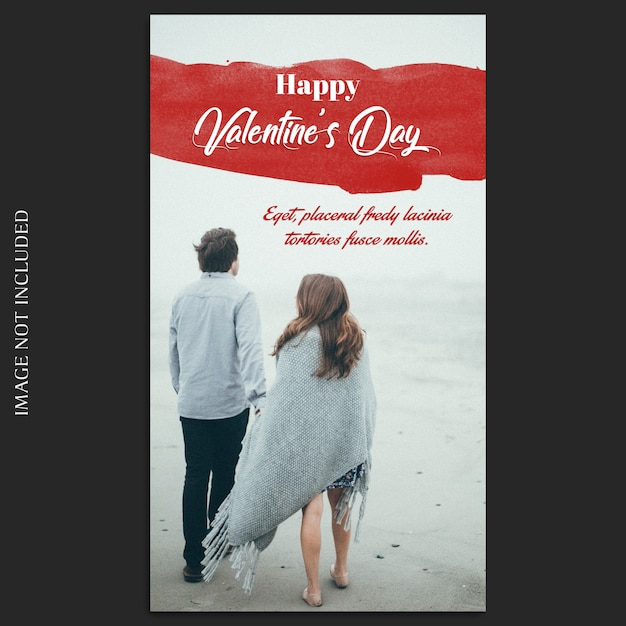 Criativo moderno dia dos namorados romântico instagram modelo de foto e foto mockup Psd Premium
