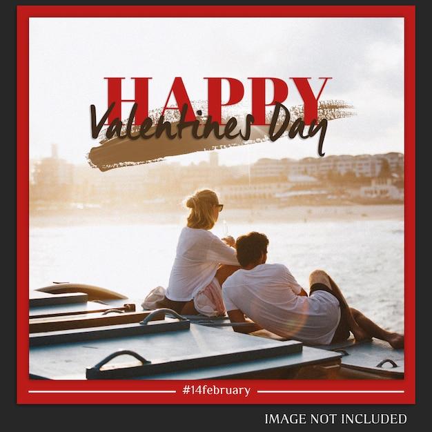 Criativo moderno dia dos namorados romântico instagram postar modelo e foto mockup Psd Premium