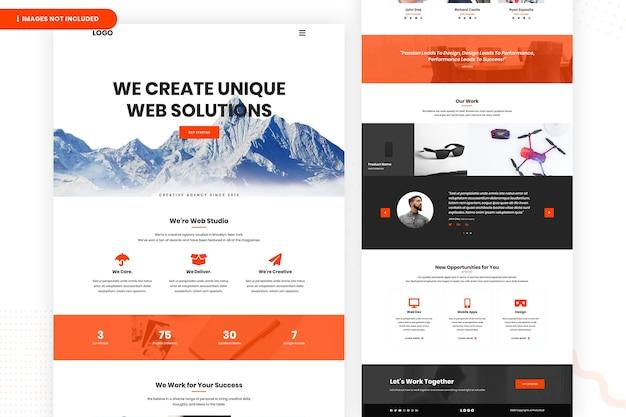 Crie uma página inicial de soluções da web exclusivas Psd Premium