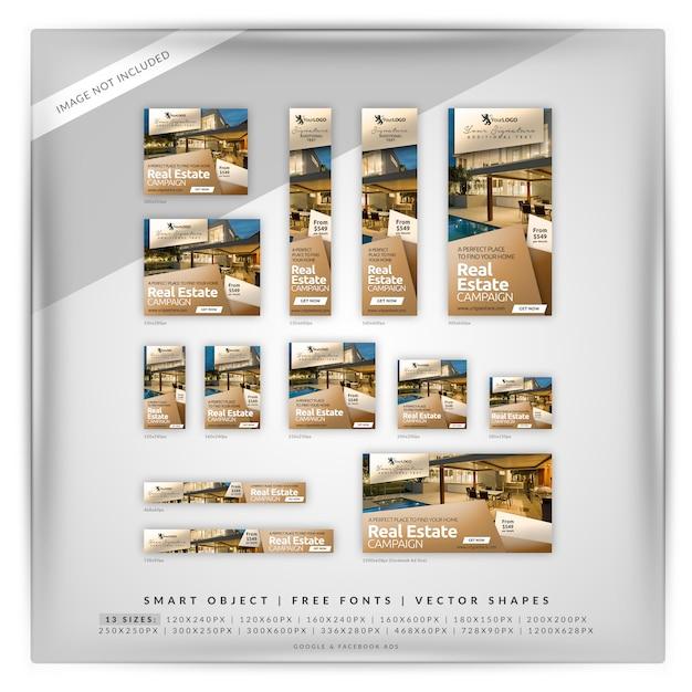 Cubo real estate google e anúncios do facebook Psd Premium