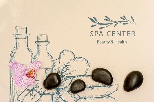 Cuidados de bem-estar no spa com produtos de beleza naturais Psd grátis