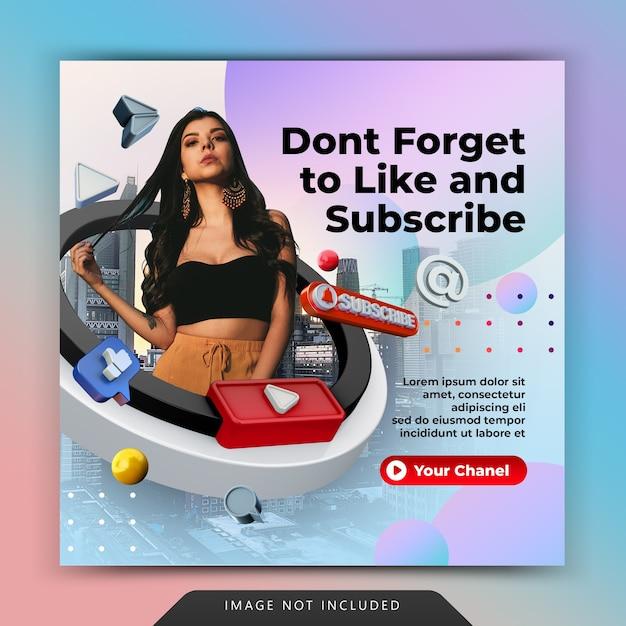Curtir no youtube e inscrever-se na promoção de modelo de postagem de mídia social no instagram Psd Premium