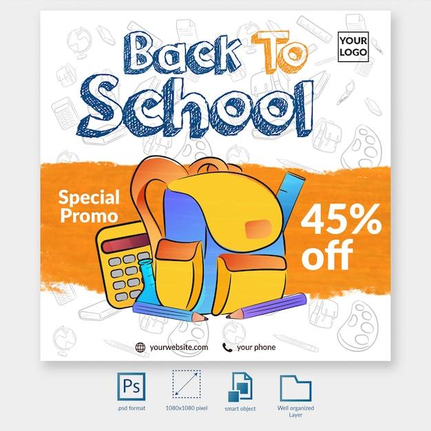 De volta ao molde especial da publicação das mídias sociais do promo da escola Psd Premium