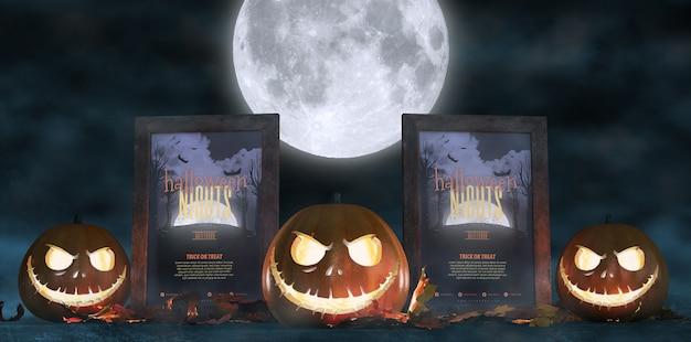 Decoração assustadora para o dia das bruxas com cartazes de filmes de terror emoldurados e abóboras Psd grátis