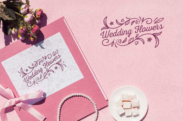 Decoração de casamento em tons de rosa com letras Psd grátis
