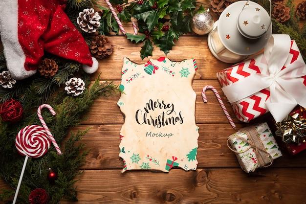 Decoração de natal com maquete de carta Psd grátis