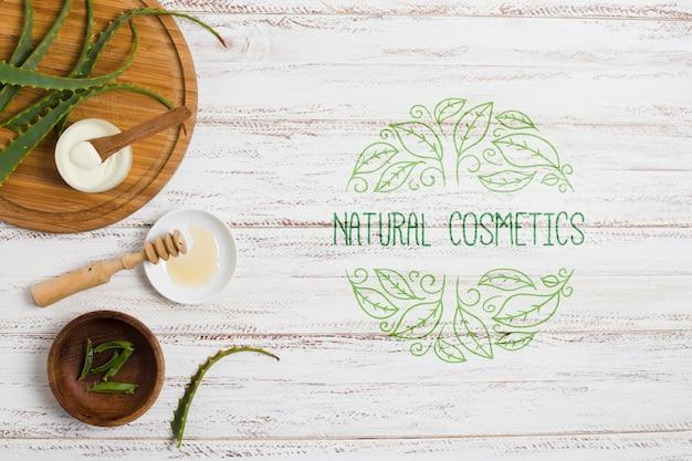 Decoração de salão de cosméticos naturais com modelo de logotipo Psd grátis