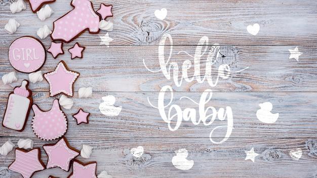 Decorações de chá de bebê rosa Psd grátis
