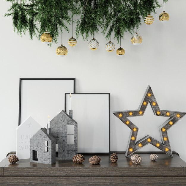 Decorações de natal em cima da mesa Psd grátis