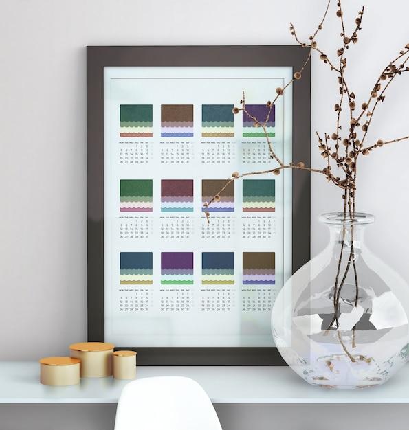 Decorativo simulado acima do calendário emoldurado Psd grátis