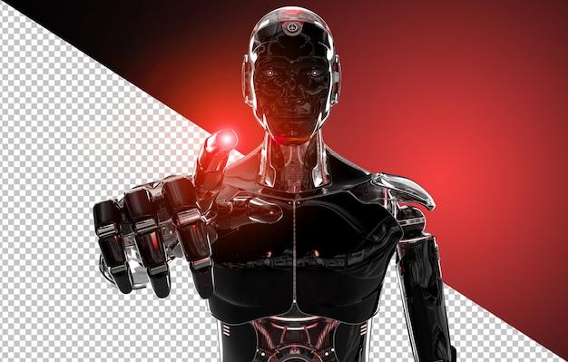 Dedo apontando robô inteligente preto e vermelho Psd Premium