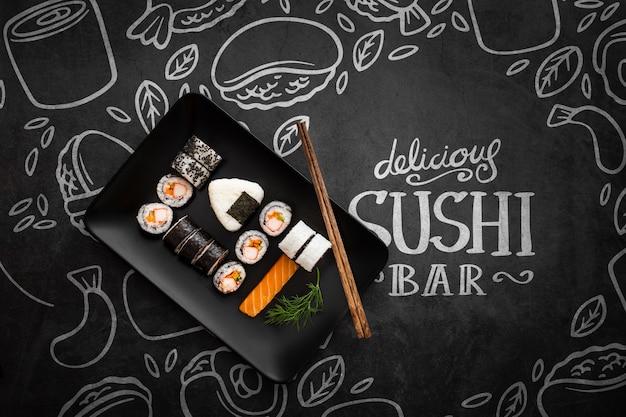 Delicioso sushi bar com maquete Psd grátis
