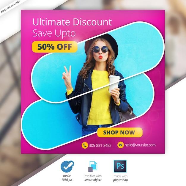 Desconto de venda web social media banner Psd Premium