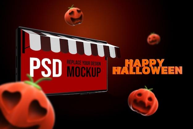 Desenho de smartphone de halloween de maquete renderização em 3d Psd Premium