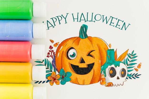 Design artístico feliz dia das bruxas na folha de papel Psd grátis