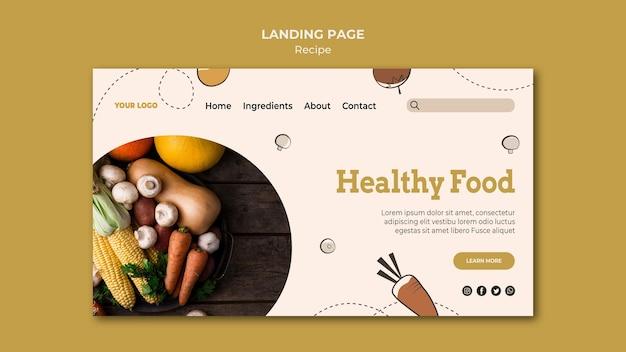 Design da página de destino da receita Psd grátis