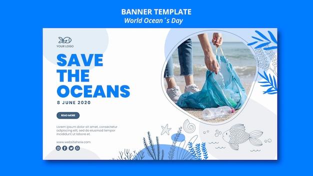 Design de banner do dia mundial do oceano Psd grátis