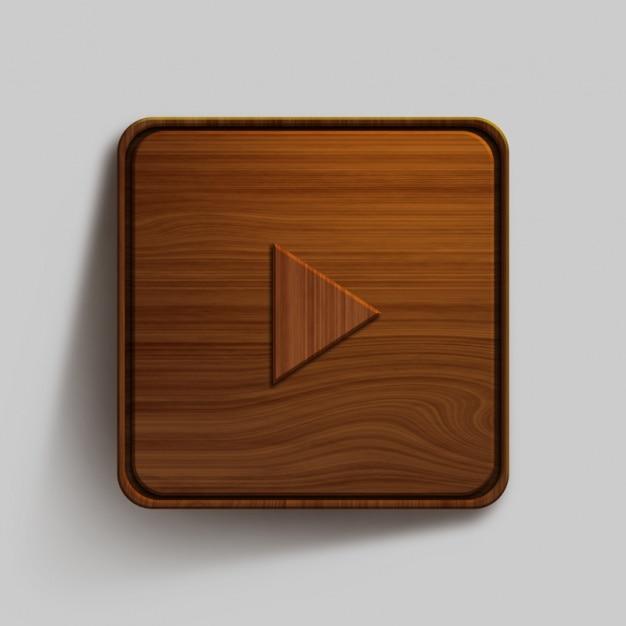 Design de botão de madeira Psd grátis