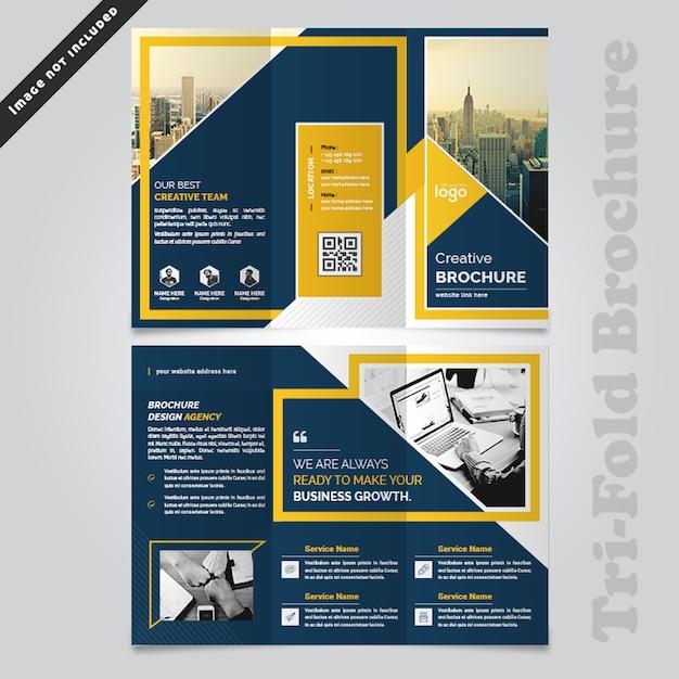 Design de brochura com três dobras de negócios abstrata Psd Premium