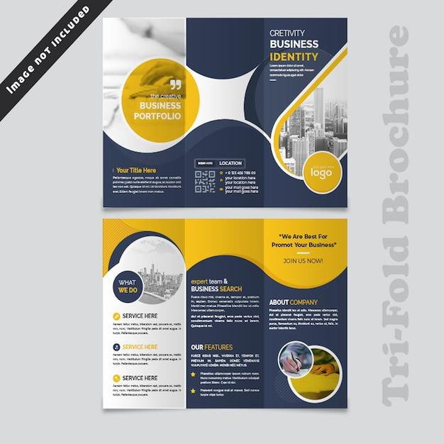 Design de brochura com três dobras onda abstrata azul Psd Premium