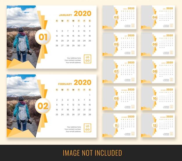 Design de calendário de mesa 2020 Psd Premium