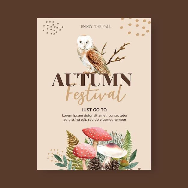 Design de cartaz com tema outono com conceito de plantas, modelo de ilustração criativa coruja da noite Psd grátis
