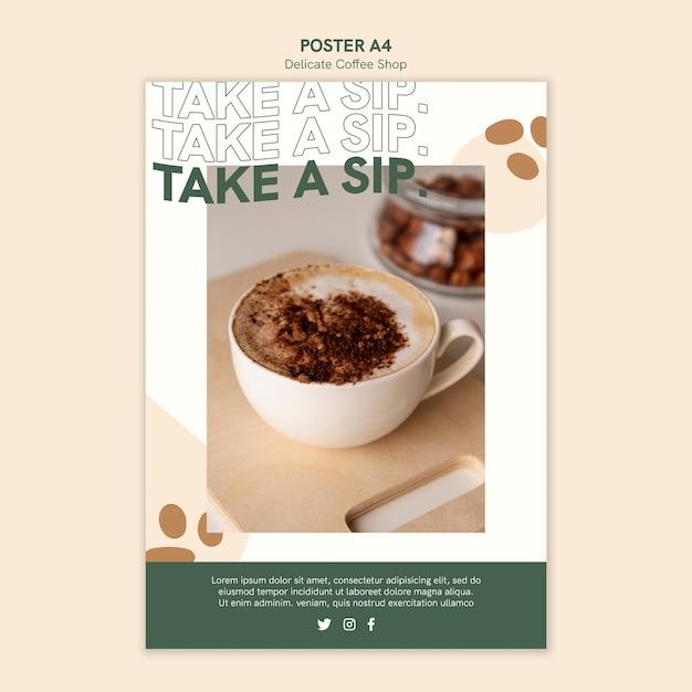 Design de cartaz de café delicado Psd grátis