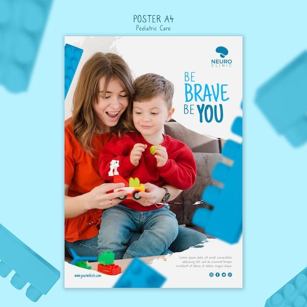 Design de cartaz de conceito de cuidados pediátricos Psd grátis