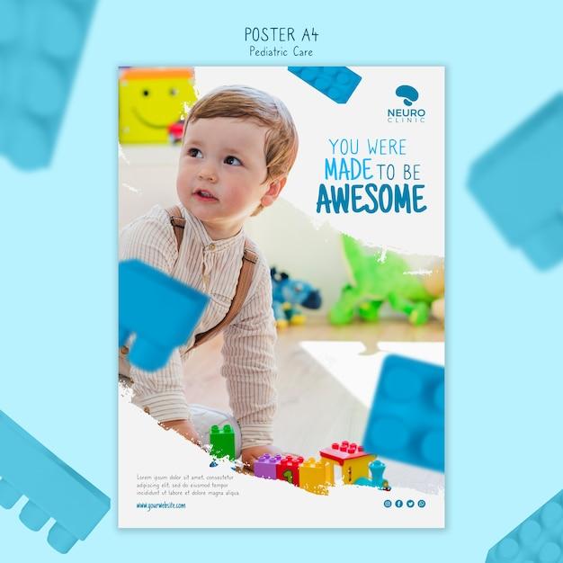 Design de cartaz de cuidados pediátricos Psd grátis