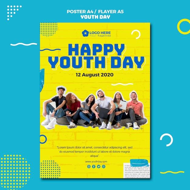 Design de cartaz de evento de dia da juventude Psd grátis