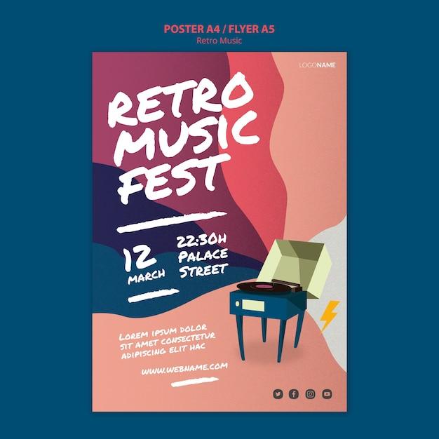 Design de cartaz de música retrô Psd grátis