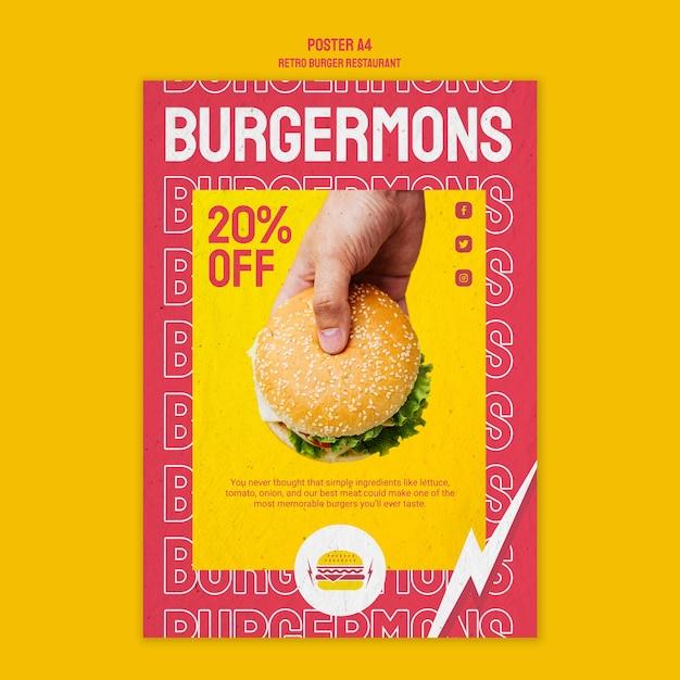 Design de cartaz de restaurante retrô hambúrguer Psd grátis