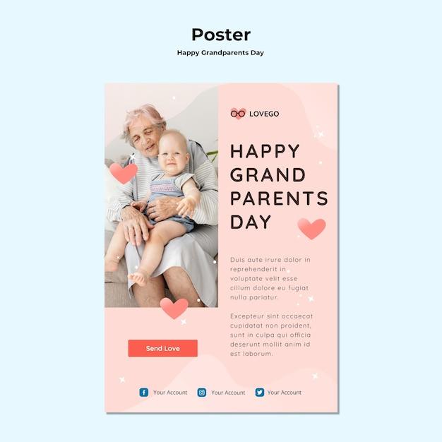 Design de cartaz feliz dia dos avós Psd grátis