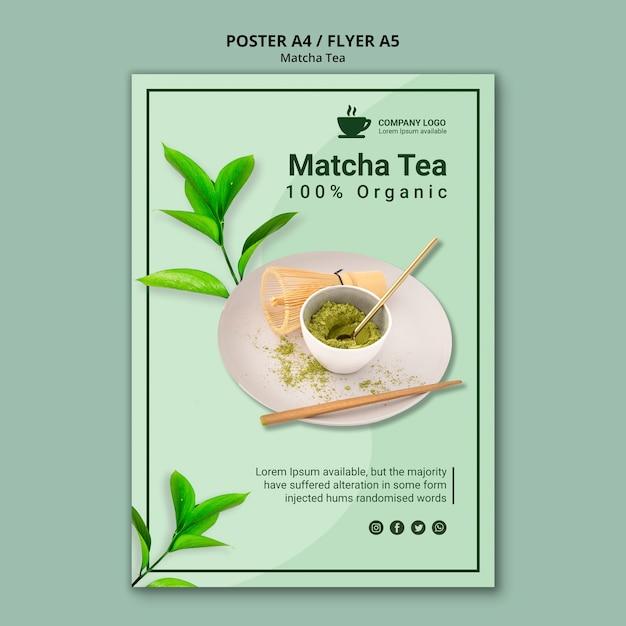 Design de chá matcha para modelo de panfleto Psd grátis