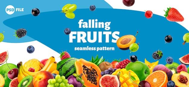 Design de embalagem de frutas e bagas em queda Psd Premium
