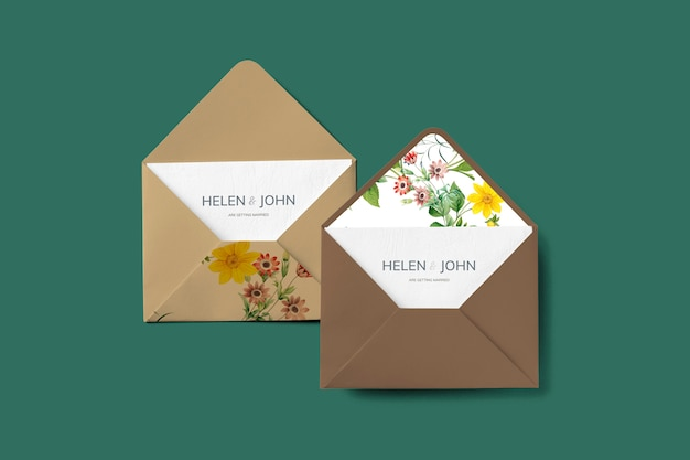 Design de envelope floral Psd grátis