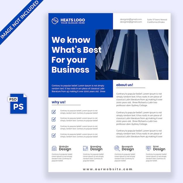 Design de folheto azul Psd Premium