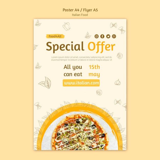Design de folheto de comida italiana Psd grátis